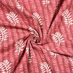 Maroon White Floral Block Print Cotton Fabric-28517