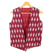 Maroon White Sleeveless Ikat Cotton koti jacket-12248