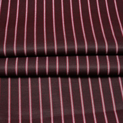 Maroon White Stripe Wool Fabric-90198