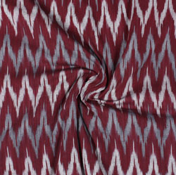Maroon White and Gray Ikat Cotton Fabric-11063