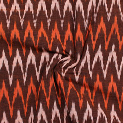 Maroon White and Orange Ikat Cotton Fabric-11038
