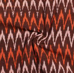 Maroon White and Orange Ikat Cotton Fabric-11038