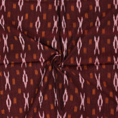 Maroon-White and Yellow Lining Design Ikat Fabric-12065