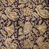 Maroon Yellow Beige and Green Paisley and Floral Hand Painted Cotton Kalamkari Fabric