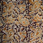 Maroon Yellow Beige and Green Traditional Paisley and Floral Hand Painted Cotton Kalamkari Fabric