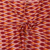 Maroon Yellow Ikat Cotton Fabric-12338