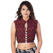 Maroon-Yellow and Blue Sleeveless Cotton Ikat Blouse-30202