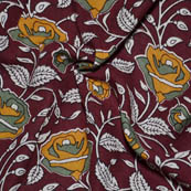 Maroon-Yellow and White Flower Shape Kalamkari Rayon Fabric-15023