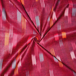 Maroon Yellow and White Ikat Cotton Fabric-11158