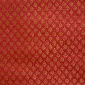 Maroon and Golden Leaf Pattern Brocade Silk Fabric-1108