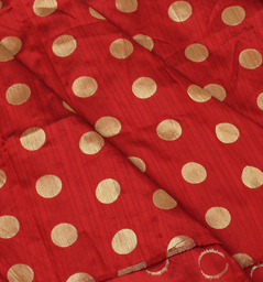 Maroon and Golden Polka Design Brocade Silk Fabric-8348