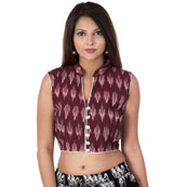 Maroon and White Cut Sleeve Cotton Ikat Blouse-30197