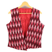 b584cff1fd1e5 Buy Black-Yellow and Red Sleeveless Ikat Cotton Jacket-12233