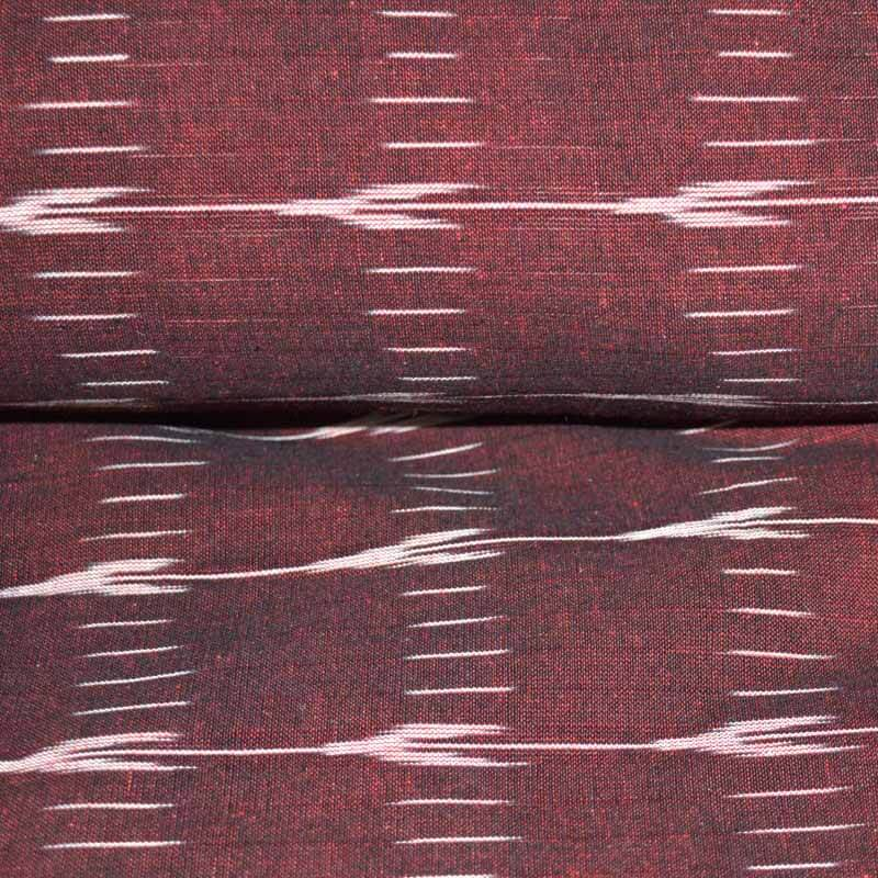 Maroon and White Ikat Fabric