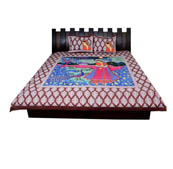 Maroon and White  Print Cotton Double Bed Sheet -0S6