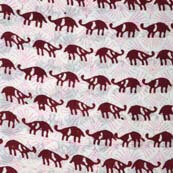 Maroon and White Rhino Hand Block Print Indian Cotton Fabric