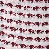 Maroon and White Rhino Hand Block Print Indian Cotton Fabric