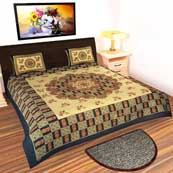 Maroon black and Cream flower printed Bedsheet with 2 Pillow Covers