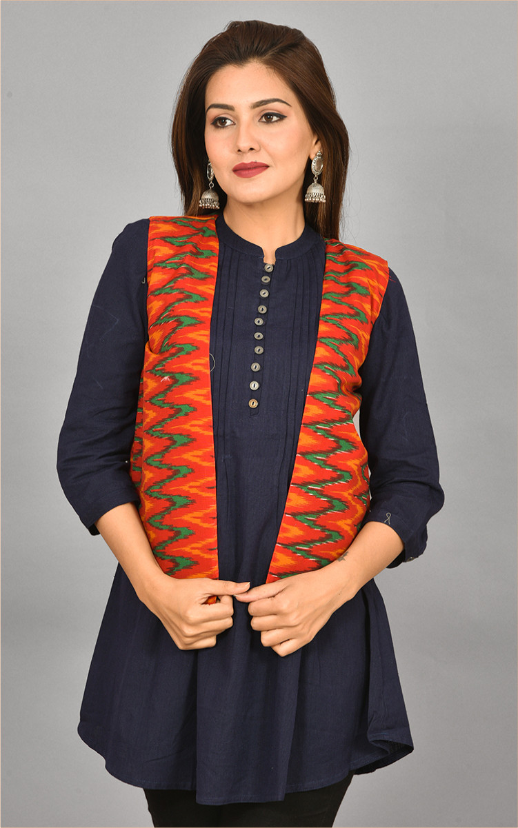 Marron Green and Orange Ikat Cotton Koti Jacket-36282