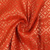 Mehroon and Golden Brocade Silk Fabric-8944
