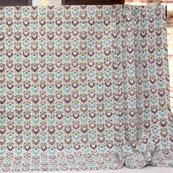 Mint Green-Brown and Peach Indian Handmade Kantha Quilt-4357