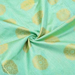 Mint-Green Golden Circle Brocade Silk Fabric-12482