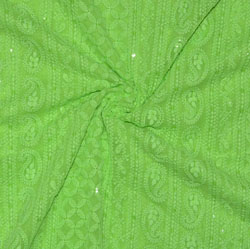 Mint Green Lakhanvi Chikan Work Georgette Embroidery Fabric-19374