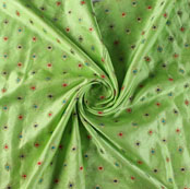 Mint Green Red and Blue Floral Satin Brocade Silk Fabric-9478