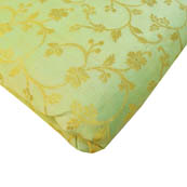 Mint Green and Golden Floral Pattern Brocade Silk Fabric-8168