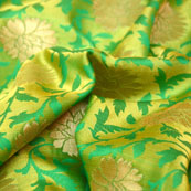 Mint Green and Golden Flower Design Brocade Silk Fabric-5447