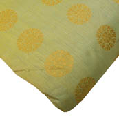 Mint Green and Golden Flower Design Brocade Silk Fabric-8161