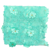 Mint Green and Golden Flower Net Embroidery Fabric-60868