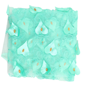 Mint Green and Golden Leaf Net Embroidery Fabric-60877