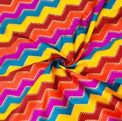 Multicolor Zig-Zag Banarasi Silk Fabric-12601