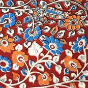 Multicolor Flower Hand Painted South Kalamkari Art Cotton Fabric