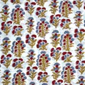 Multicolor Flower Hand Printed Cotton Fabric by the Yard