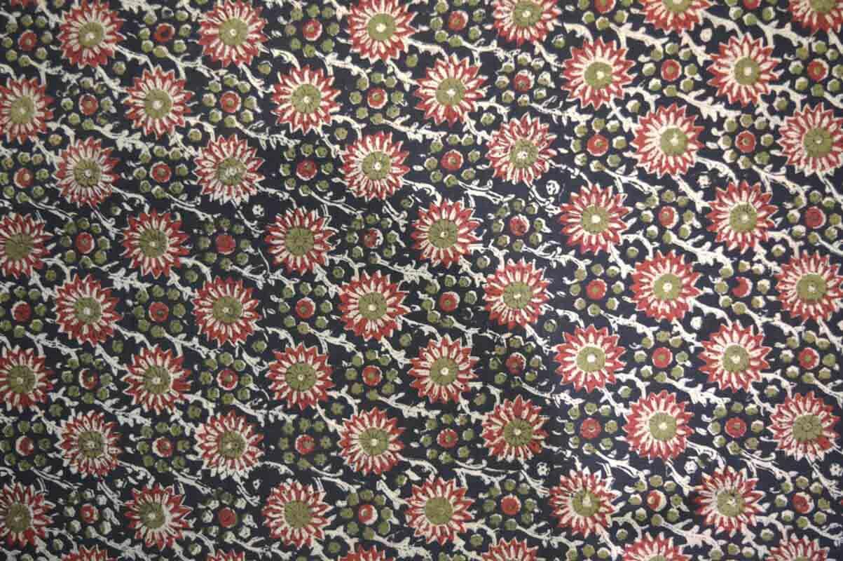 Multicolor Flower Kalamkari Work Indian Cotton Blouse Fabric