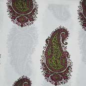 Multicolor Paisley Pattern Block Print Cotton Fabric by the yard