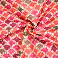Multicolor Peach Digital Position Print Malbari Embroidery Fabric-19307