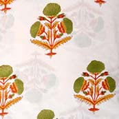 Multicolor Tree Pattern Indian Block Print Fabric by the yard