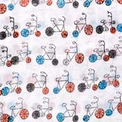 Multicolor Unique Bicycle Pattern Indian Block Print Fabric