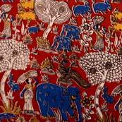 Multicolor Village Pattern Kalamkari Cotton Fabric by the yard