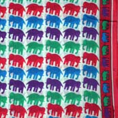 Multicolor beautiful Traditional Elephant Hand Block Print Cotton Fabric