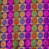 Multicolor flower pattern silk brocade fabric-4615
