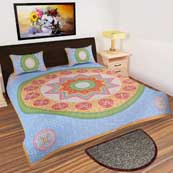 Multicolor star design printed Bedsheet with 2 Pillow Covers