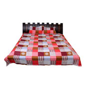 Multicolored Checks Printed Cotton Double King Size Bed Sheet-0G38