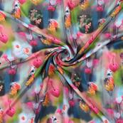 Multicolored Flower Silk Crepe Fabric-18136