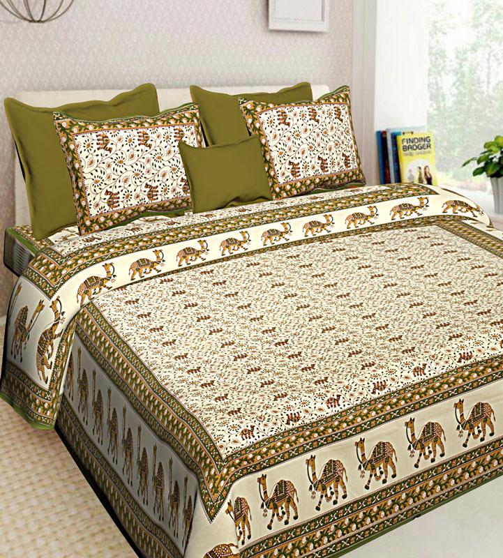 Mustard Mahendi Green Cotton Jaipuri Bedsheet-621