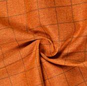 Mustard Yellow Brown Check Handloom Cotton Fabric-40882
