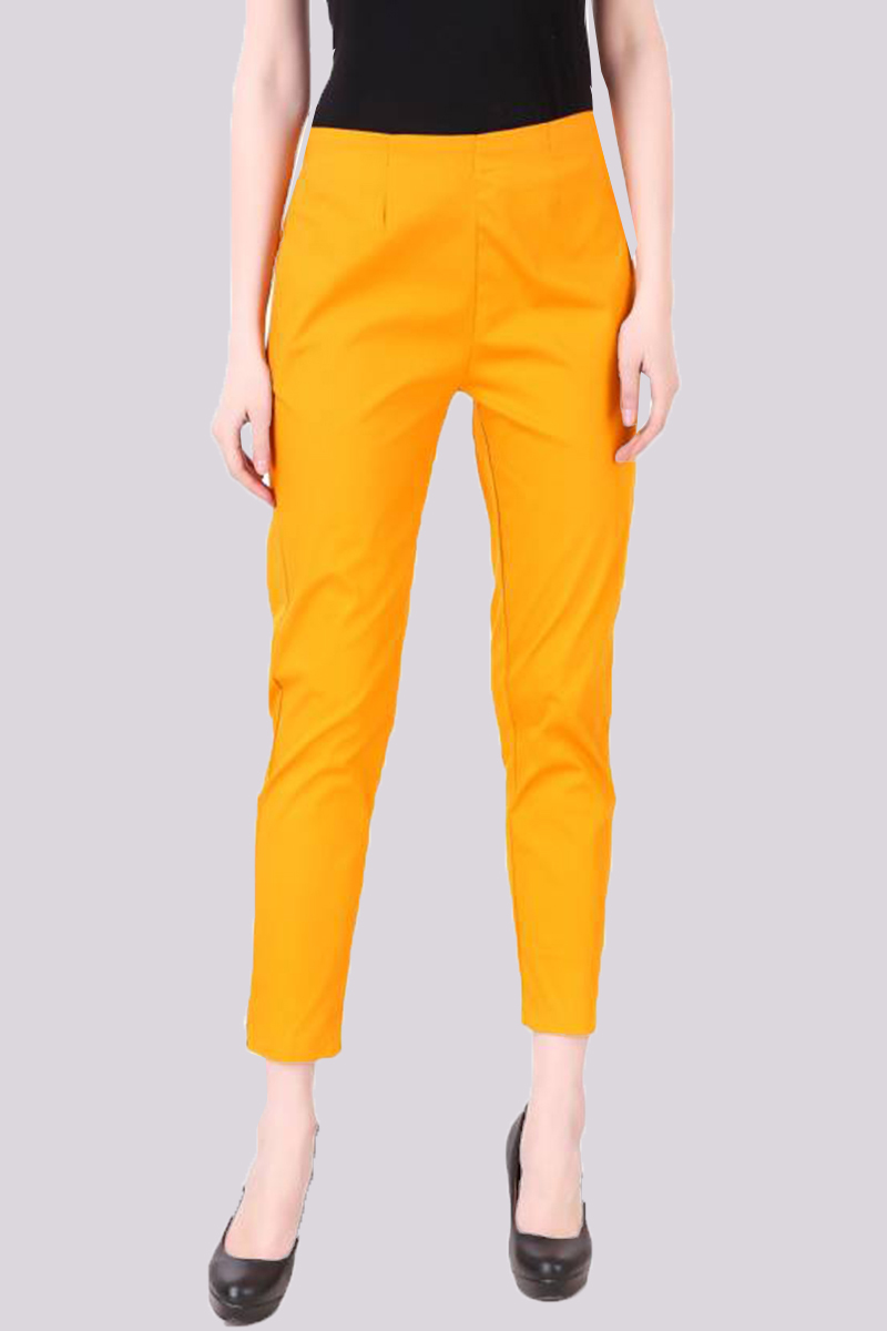 Mustard Yellow Cotton Flex Pant with Side Chain and Pocket-33390